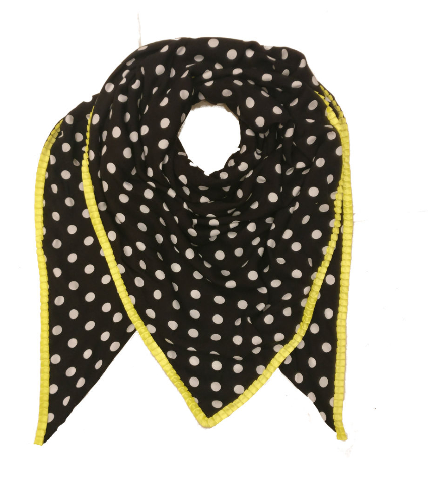 Oversize Tørklæde. Black/Yellow Dot