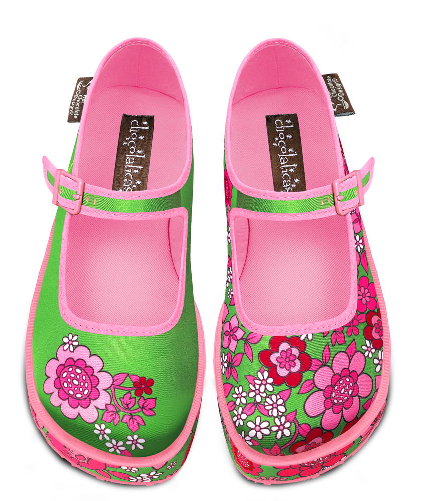 Pink Flowers Mary Jane Platform Sko fra Hot Chocolate Design
