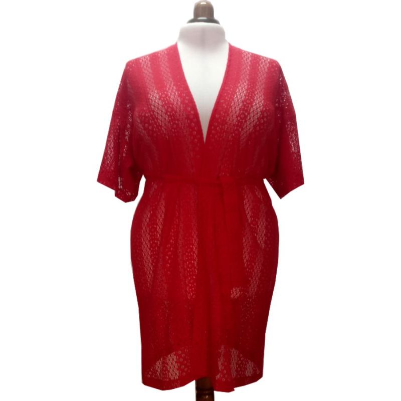 Kimono Red Lace